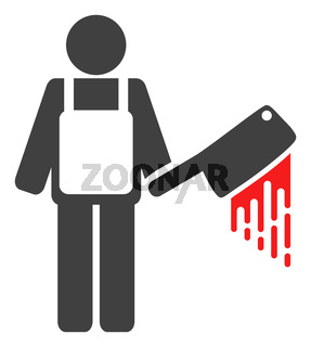 Raster Bloody Butcher Flat Icon Symbol