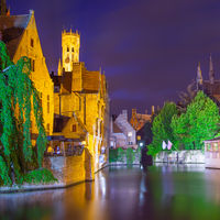 Quay of the Rosary in Bruges at night