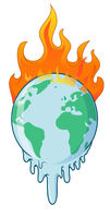 earth on fire planet is burning disaster warning.vector illustration
