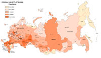 Population map of the federal subjects of Russia