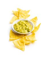 Corn nacho chips. Yellow tortilla chips.