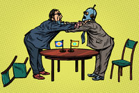 man versus robot. new technologies and progress concept. Fight opponents