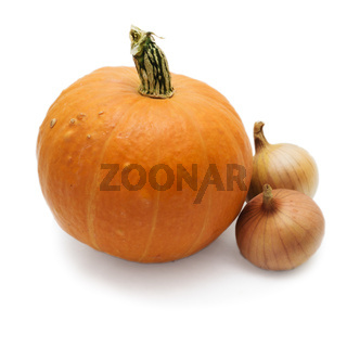 Fresh pumpkin variety and two bulbs isolated on white background