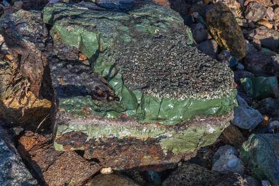 Petrified liquid glass in stone by the sea