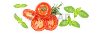 Tomaten mit Basilikum Gemüse von oben Banner freigestellt Freisteller isoliert