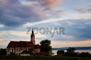 Basilika Birnau mit bewölktem Himmel