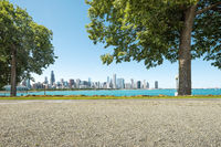 empty land with cityscape in chicago