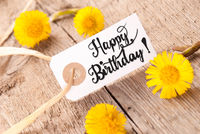 White Label, Dandelion, English Calligraphy Happy Birthday
