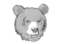 Asiatic Black Bear Endangered Wildlife Cartoon Retro Drawing