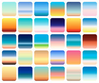 30 sunset sky gradients backgrounds set vector. sunset and sea colors.
