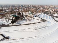 Aerial shot of main view to Barnaul city