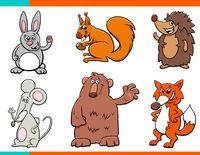 set of cartoon wild animal characters
