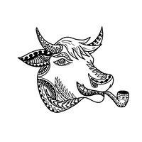 Cow Head Tribal Tattoo