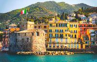 retro italian castle seaside vintage travel background Castello di Rapallo italian riviera - Italy