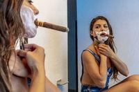 Sexy Lingerie Hispanic Brunette Model Shaving Her Face In The Bathroom