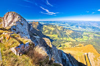 Alps in Switzerland on Pilatus Kulm mountain panoramic view