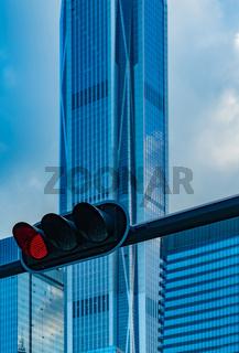 Shenzhen - financial district w red traffic light