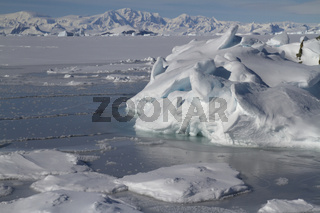 ice floes and a small iceberg stuck in the ocean near a small island in the Antarctic