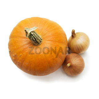Fresh pumpkin and two bulbs isolated on white background