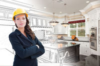 Female Contractor Over Kitchen Drawing Gradating to Photo