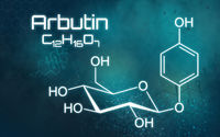 Chemical formula of Arbutin on a futuristic background