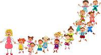 Happy children from kindergarten