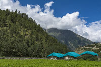 Tourist campsite at Chitkul, Himachal Pradesh, India