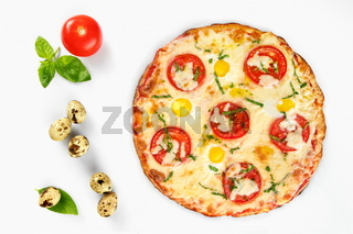 Pizza caprese top view on white background