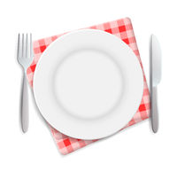 Realistic empty plate, fork and knife served on checkered red napkin vector illustration. Can be used for advertising