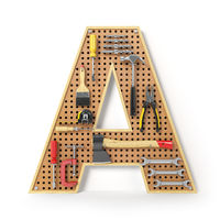 Letter A. Alphabet from the tools on the metal pegboard isolated on white.