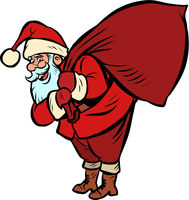 Santa Claus with a bag of gifts. Christmas and New year