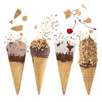 Various of ice cream flavor in cones on white background