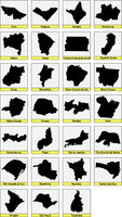 twenty seven black maps of the Subdivisions of Brazil
