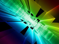 Rainbow perspective background - abstract digitally generated image