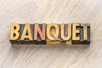 banquet word abstract in wood type