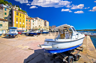 Historic UNESCO town of Sibenik old harbor and waterfront view