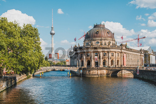 Berlin city with TV Tower ( Fernsehturm), Bode Museum and river Spree at Museum Island on  summer day