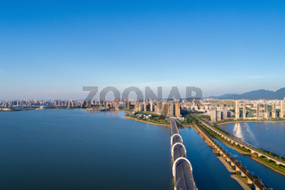 aerial view of  jiujiang cityscape