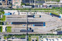 aerial view of railway marshalling station