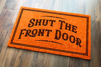 Shut The Front Door Halloween Orange Welcome Mat On Wood Floor Background