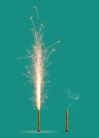 Two fireworks burning and burnt on a turquoise background.