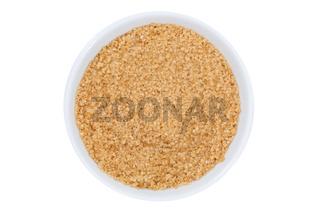 Brauner Zucker Rohrzucker von oben isoliert freigestellt Freisteller