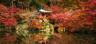 Daigoji temple and autumn maple trees in momiji season, Kyoto, Japan