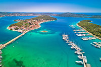 Rogoznica turquoise bay town and marina aerial view