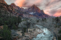 Sunset Mountains and stream at Zion National Park