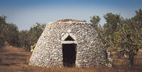 Puglia Region, Italy. Traditional warehouse made of stone