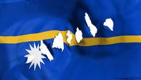 Nauru flag perforated, bullet holes