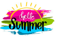 Hello Summer Inscription with a Colorful Strokes