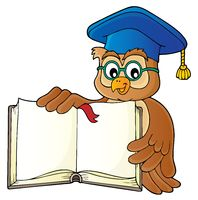 Owl teacher with open book theme image 1