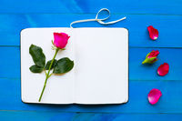 Diary notebook with rose on blue wooden background.